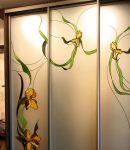 Шкаф-купе с витражом Орхидеи