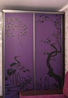 Шкаф-купе с рисунком плотерной резки на дверях из стекла матового сатинат
