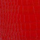Декоративная кожа кожа Крокодил  красный глянец